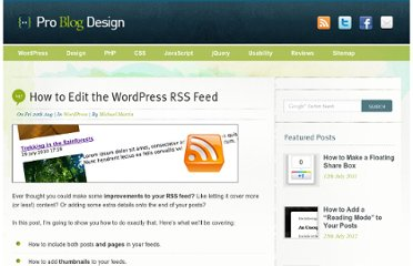 http://www.problogdesign.com/wordpress/how-to-edit-the-wordpress-rss-feed/