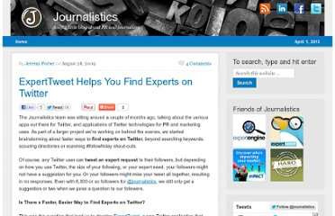 http://blog.journalistics.com/2009/expert-tweet-helps-you-find-experts-on-twitter/