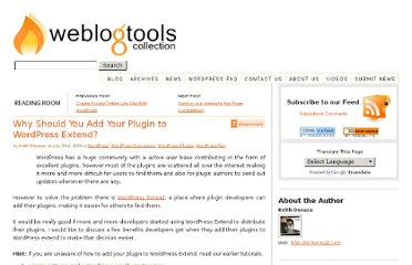 http://weblogtoolscollection.com/archives/2009/07/23/benefits-of-adding-plugin-to-wordpress-extend/