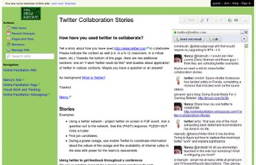 http://onlinefacilitation.wikispaces.com/Twitter+Collaboration+Stories