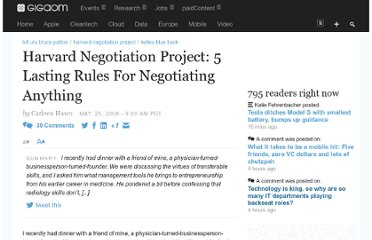 http://gigaom.com/2008/05/25/harvard-negotiation-project-5-lasting-rules-for-negotiating-anything/
