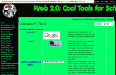 http://cooltoolsforschools.wikispaces.com/Collaborative+Tools