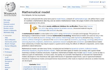 http://en.wikipedia.org/wiki/Mathematical_model