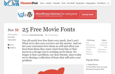 http://blog.templatemonster.com/2010/11/30/25-free-movie-fonts/