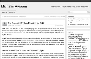 http://michalisavraam.org/2010/04/the-essential-python-modules-for-gis/