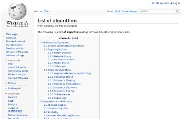 http://en.wikipedia.org/wiki/List_of_algorithms