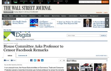 http://blogs.wsj.com/digits/2010/12/02/committee-asks-professor-to-censor-facebook-remarks/