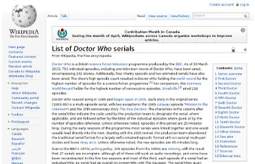 http://en.wikipedia.org/wiki/List_of_Doctor_Who_serials
