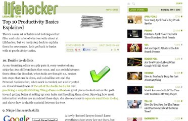 http://lifehacker.com/5303204/top-10-productivity-basics-explained