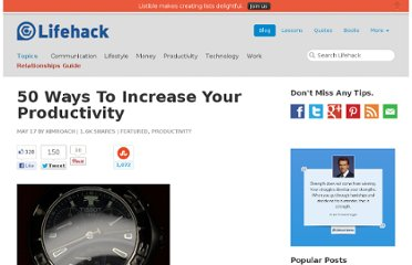 http://www.lifehack.org/articles/productivity/50-ways-to-increase-your-productivity.html