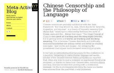 http://www.meta-activism.org/2010/11/chinese-censorship-and-the-philosophy-of-language/