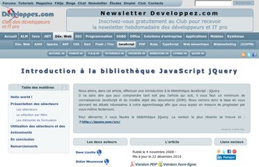 http://pckult.developpez.com/tutoriels/javascript/frameworks/jquery/introduction/