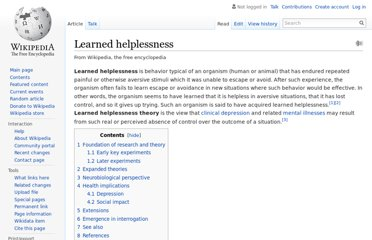 http://en.wikipedia.org/wiki/Learned_helplessness