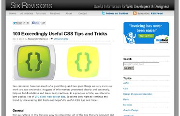 http://sixrevisions.com/css/100-exceedingly-useful-css-tips-and-tricks/