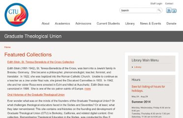 http://www.gtu.edu/library/special-collections/archives/featured-collections-1
