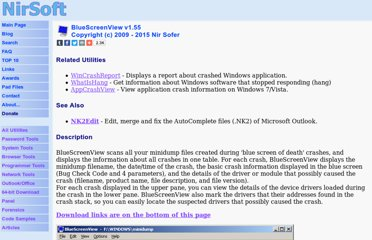 http://www.nirsoft.net/utils/blue_screen_view.html