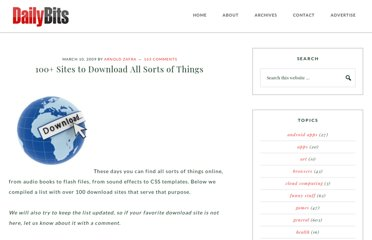 http://www.dailybits.com/100-sites-to-download-all-sorts-of-things/