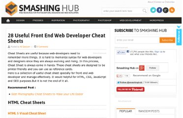 http://smashinghub.com/useful-front-end-web-developer-cheat-sheets.htm