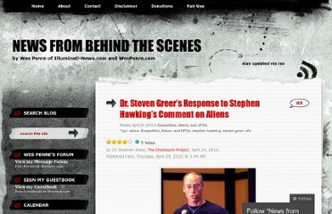 http://battleofearth.wordpress.com/2010/04/29/dr-steven-greers-response-to-stephen-hawkings-commens-on-aliens/