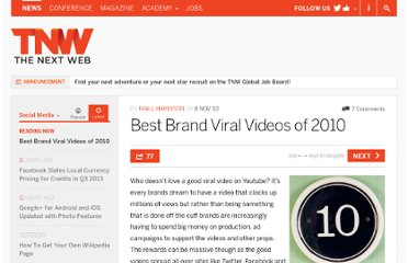http://thenextweb.com/socialmedia/2010/11/08/best-brand-viral-videos-of-2010/