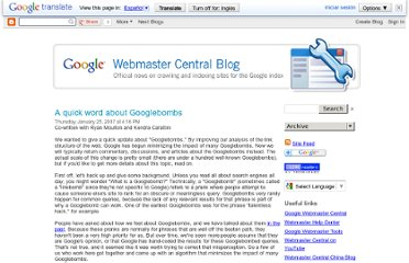 http://googlewebmastercentral.blogspot.com/2007/01/quick-word-about-googlebombs.html
