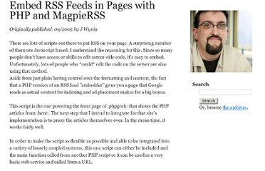 http://www.wynia.org/wordpress/2005/09/embed-rss-feeds-in-pages-with-php-and-magpierss/