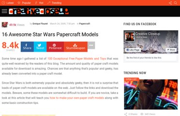 http://www.creativecloseup.com/16-awesome-star-wars-papercraft-models