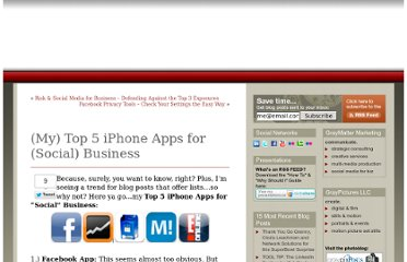 http://www.graymatterminute.com/2010/05/05/my-top-5-iphone-apps-for-business/