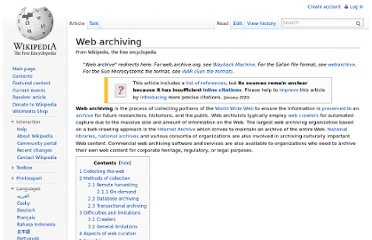http://en.wikipedia.org/wiki/Web_archiving#Aspects_of_Web_curation