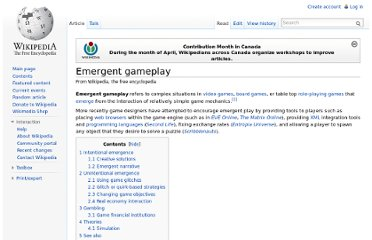 http://en.wikipedia.org/wiki/Emergent_gameplay