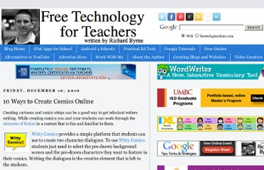 http://www.freetech4teachers.com/2010/12/10-ways-to-create-comics-online.html