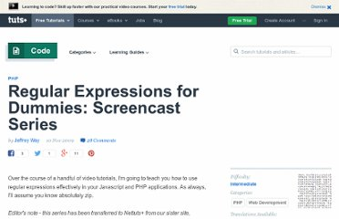 http://net.tutsplus.com/tutorials/php/regular-expressions-for-dummies-screencast-series/