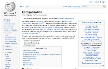 http://en.wikipedia.org/wiki/Categorization