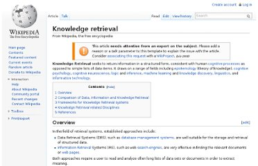 http://en.wikipedia.org/wiki/Knowledge_retrieval