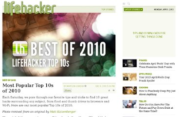http://lifehacker.com/5709479/most-popular-top-10s-of-2010