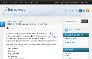 http://www.fortystones.com/40-linux-shell-commands-beginners/
