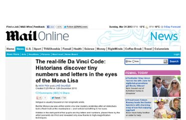 http://www.dailymail.co.uk/news/article-1337976/Real-life-Da-Vinci-Code-Tiny-numbers-letters-discovered-Mona-Lisa.html