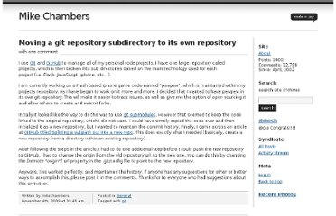 http://www.mikechambers.com/blog/2009/11/04/moving-a-git-repository-subdirectory-to-its-own-repository/