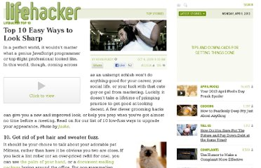 http://lifehacker.com/5058823/top-10-easy-ways-to-look-sharp