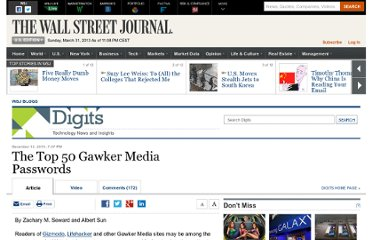 http://blogs.wsj.com/digits/2010/12/13/the-top-50-gawker-media-passwords/