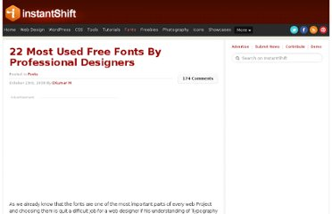 http://www.instantshift.com/2008/10/23/22-most-used-free-fonts-by-professional-designers/