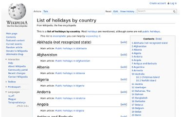 http://en.wikipedia.org/wiki/List_of_holidays_by_country