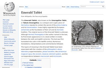 http://en.wikipedia.org/wiki/Emerald_Tablet
