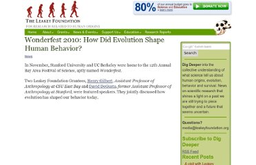 http://leakeyfoundation.org/2010/12/wonderfest-2010-how-did-evolution-shape-human-behavior/