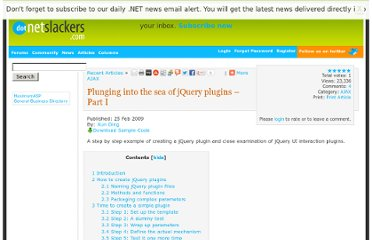 http://dotnetslackers.com/articles/ajax/Plunging-into-the-sea-of-jQuery-plugins-Part-I.aspx