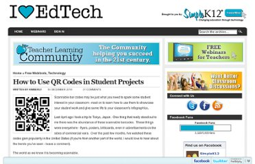 http://blog.simplek12.com/technology/how-to-use-qr-codes-in-student-projects/