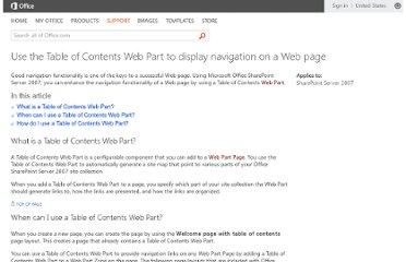 http://office.microsoft.com/en-us/sharepoint-server-help/use-the-table-of-contents-web-part-to-display-navigation-on-a-web-page-HA010167419.aspx