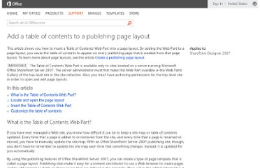 http://office.microsoft.com/en-us/sharepoint-designer-help/add-a-table-of-contents-to-a-publishing-page-layout-HA010174144.aspx