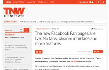 http://thenextweb.com/facebook/2010/12/16/the-new-facebook-fan-pages-are-live-no-tabs-cleaner-interface-more-features/