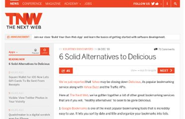 http://thenextweb.com/apps/2010/12/16/the-5-best-alternatives-to-delicious/